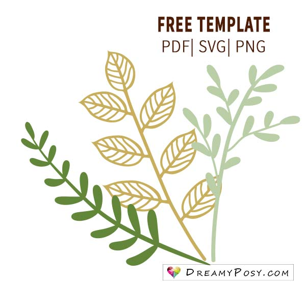 leaves template branch template free pdf svg png files