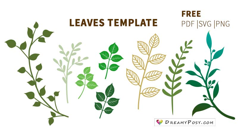Leaves template, free PDF, SVG, PNG files #paperleaves #leavestemplate #paperflowers
