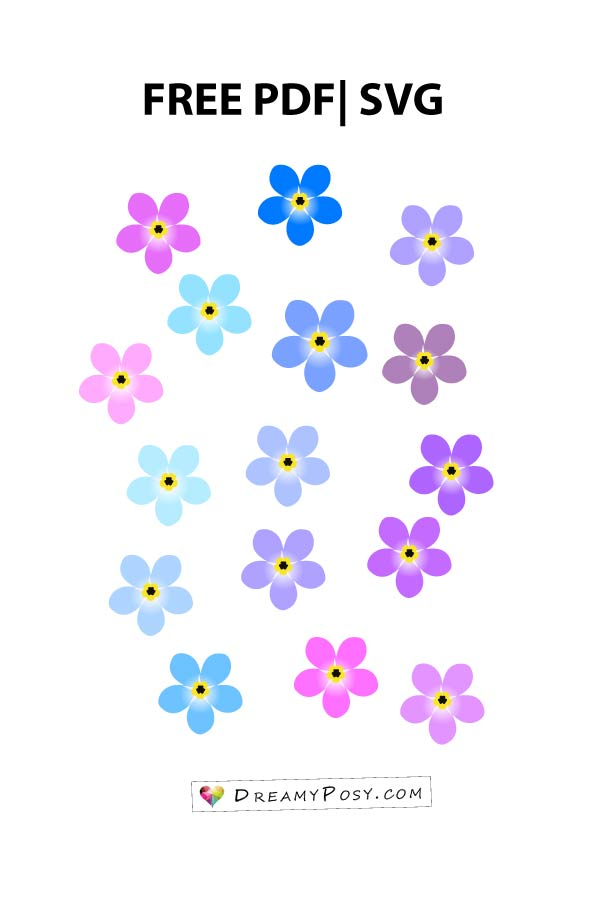 Flower templates free PDF, SVG, PNG files for tiny flowers