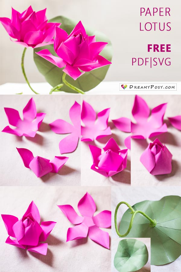 Flower making with paper free template and step by step tutorial lotus flower making with paper free templates paperflowers flowertutorial flowertemplate freesvg mightylinksfo