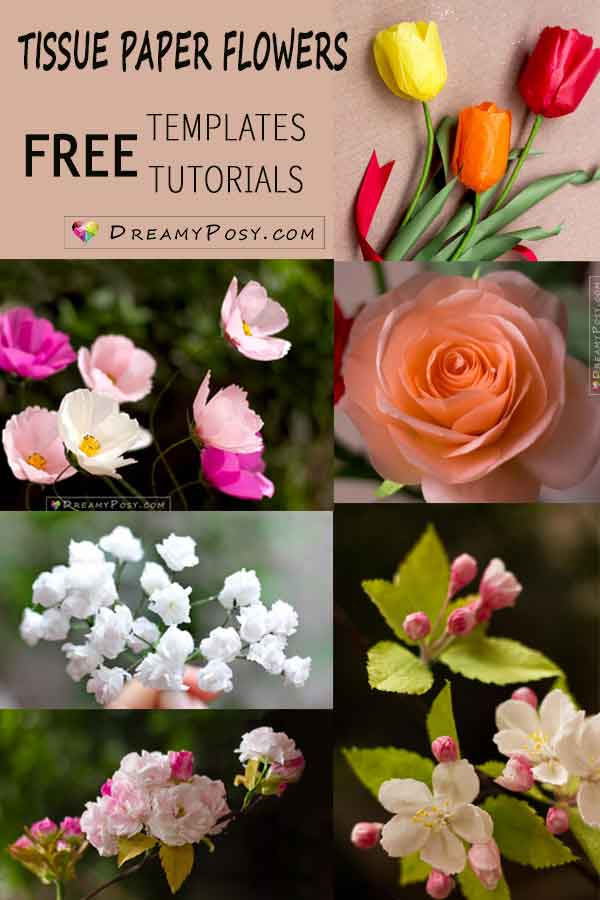 Tissue paper flowers, free templates and tutorials, #paperflowers #flowertemplate #flowertutorial