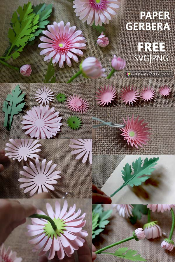 Paper flowers DIY, free template and step by step tutorial