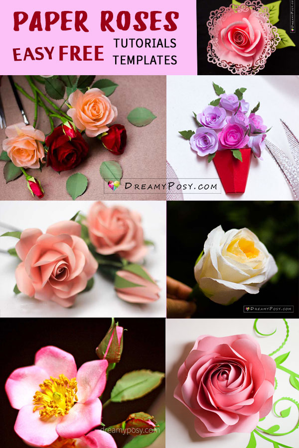 Paper roses tutorials and templates free