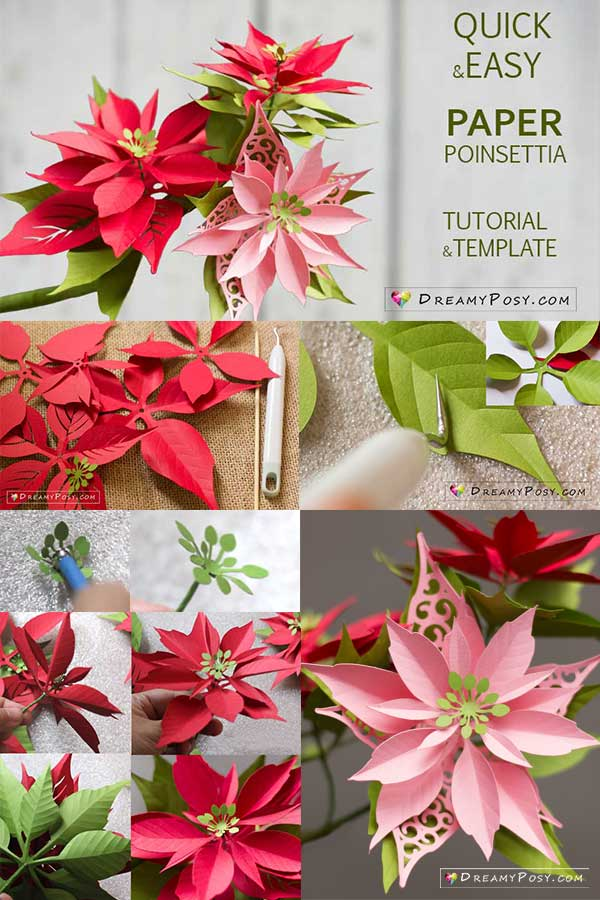 paper poinsettia template and step by step tutorial