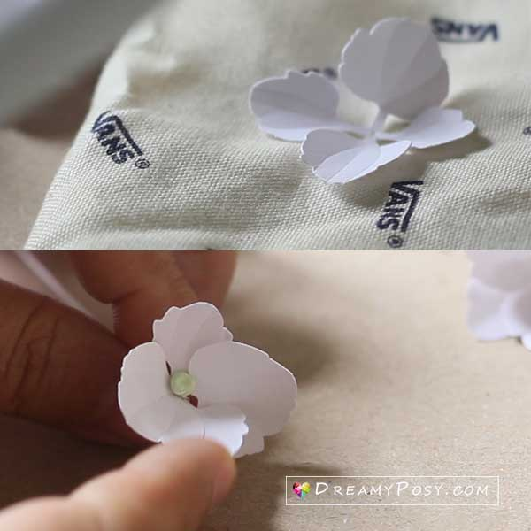 Paper Hydrangea tutorial, step 2
