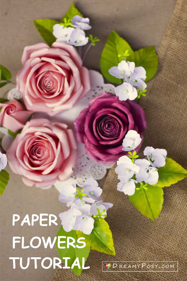 Paper flowers tutorial and template