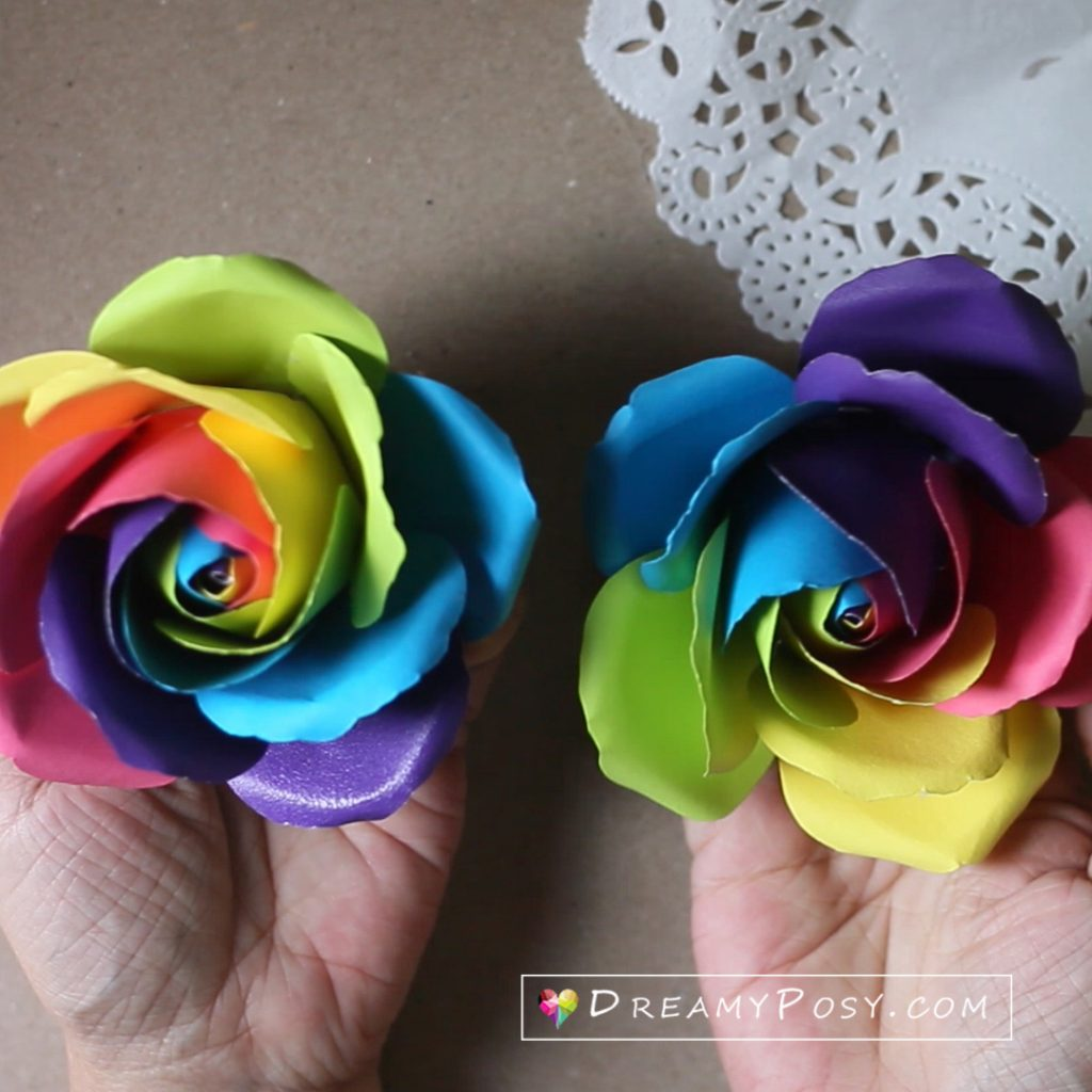 Rainbow rose made from paper