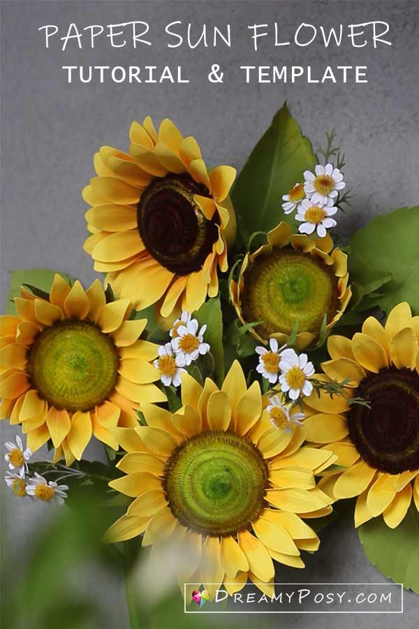 Paper Sun flower step by step tutorial and template