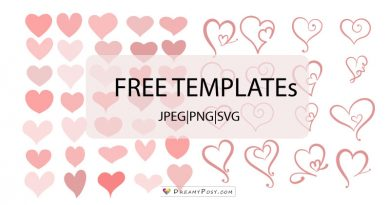 50+ free heart shape templates, JPEG and SVG, re-sizable.