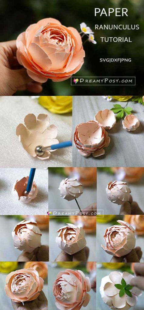 Cardstock Ranunculus flower step by step tutorial, with template.