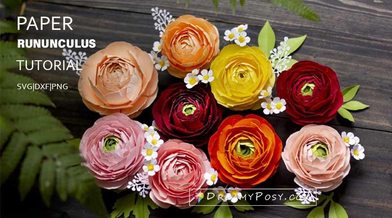 Cardstock Ranunculus flower tutorial