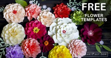 Paper flower for beginners, FREE templates for tiny, small and giant flowers, free DXF|PNG|SVG.