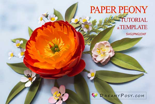 Paper peony flower - Coral Charm