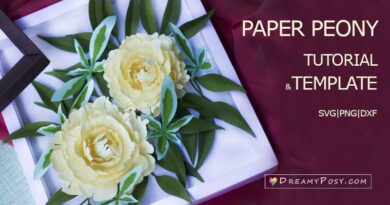 Peony paper flower tutorial and svg template